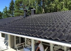 Takläggarna är färdiga med takläggningen